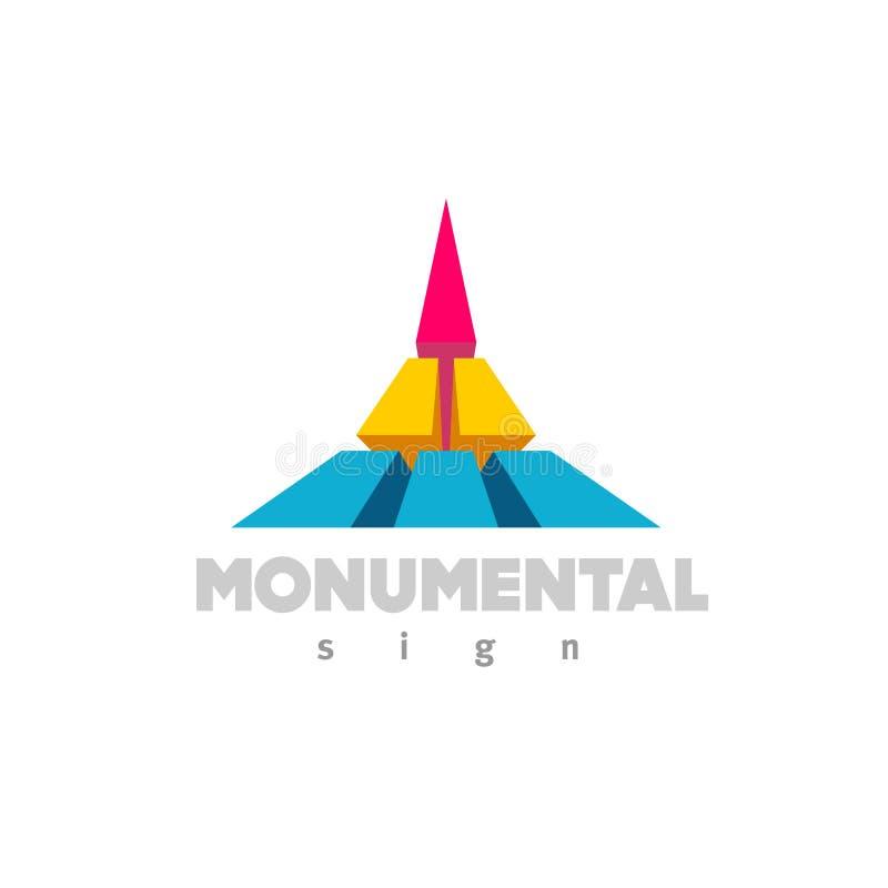 Logotipo monumental 3D colorido que constrói o sinal liso do estilo da cor ilustração do vetor