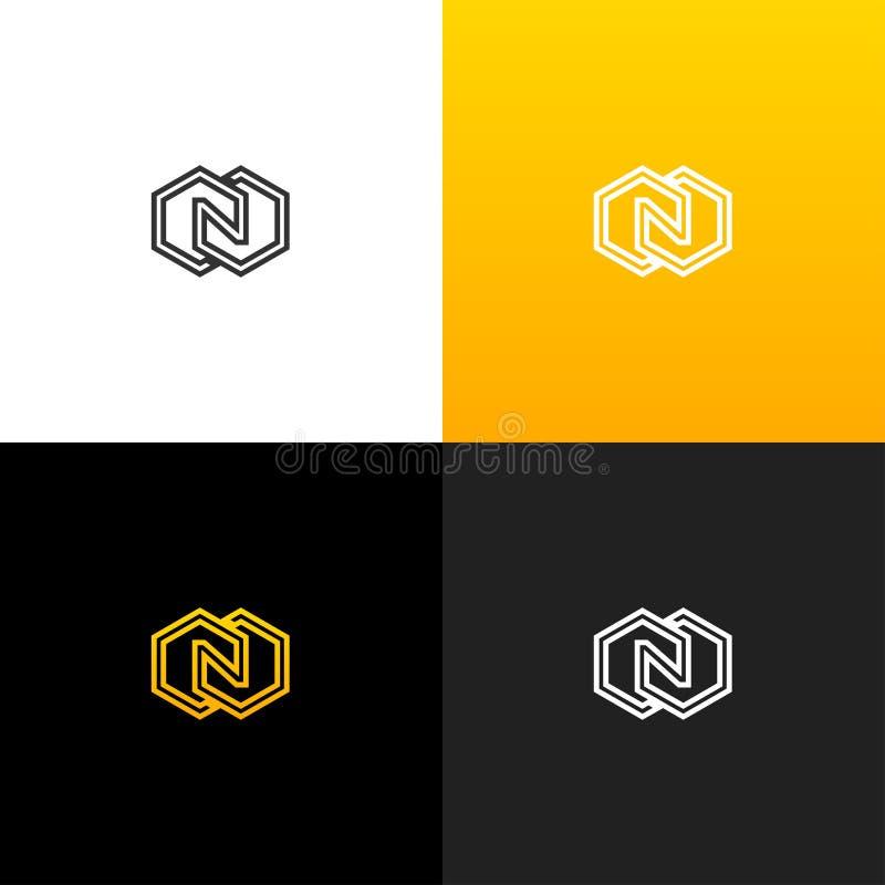 Logotipo N con el Rhombus Logotipo linear de la letra n para las compañías y las marcas con una pendiente amarilla ilustración del vector