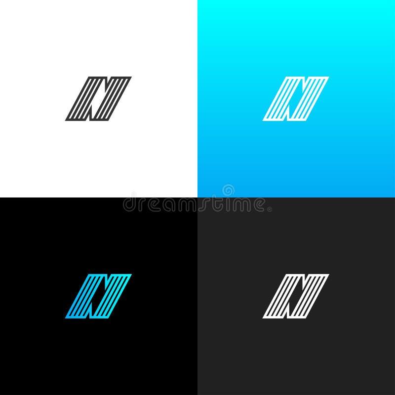 Logotipo N con las líneas Logotipo linear de la letra n para las compañías y las marcas con una pendiente azul foto de archivo