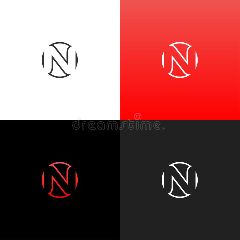 Logotipo n en círculo Logotipo linear de la letra n para las compañías y las marcas con una pendiente roja imagenes de archivo