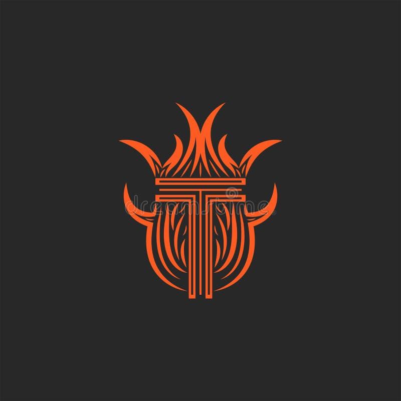Logotipo nas chamas, brasão heráldica da letra T do monograma do fogo para o cartão ilustração do vetor