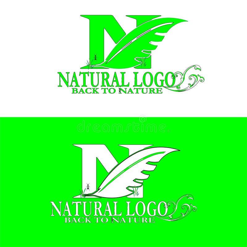 Logotipo natural de nuevo a la naturaleza stock de ilustración