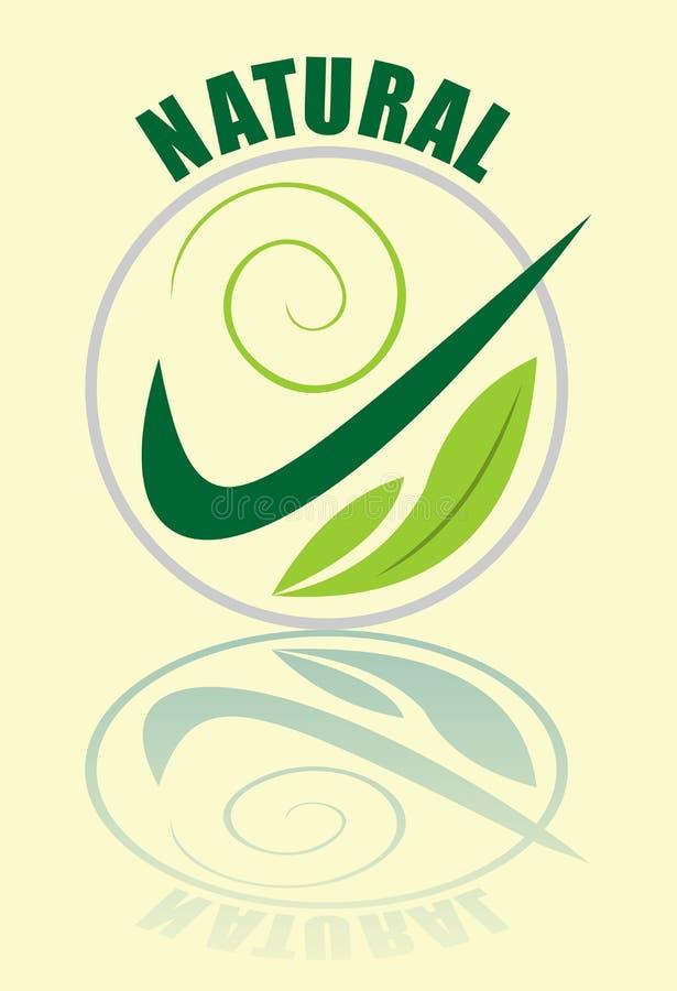 Logotipo natural en el verde compuesto en el círculo, marca de verificación verde, espiral, hojas verdes claras, imagen de espejo libre illustration
