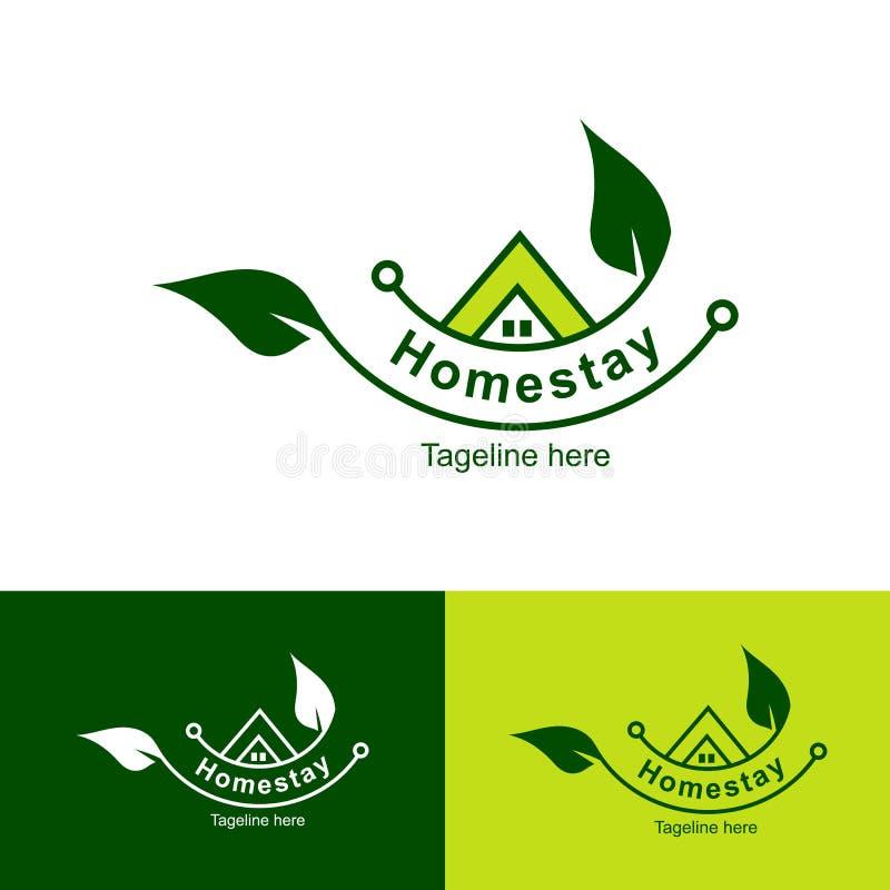 Logotipo natural, residência do Homestay da folha, fundo simples do homestay do ícone do logotipo - vetor ilustração do vetor