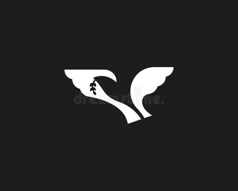 Logotipo negativo del espacio del pájaro abstracto Diseño del símbolo del logotipo del vector de la paloma de la libertad stock de ilustración