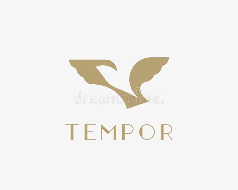 Logotipo negativo del espacio del pájaro abstracto Diseño del símbolo del logotipo del vector de la paloma de la libertad ilustración del vector