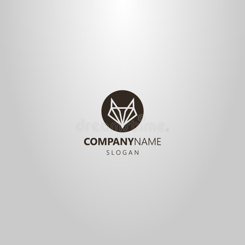 Logotipo negativo do círculo do espaço do vetor simples de uma cabeça abstrata da raposa ou do lobo ilustração royalty free