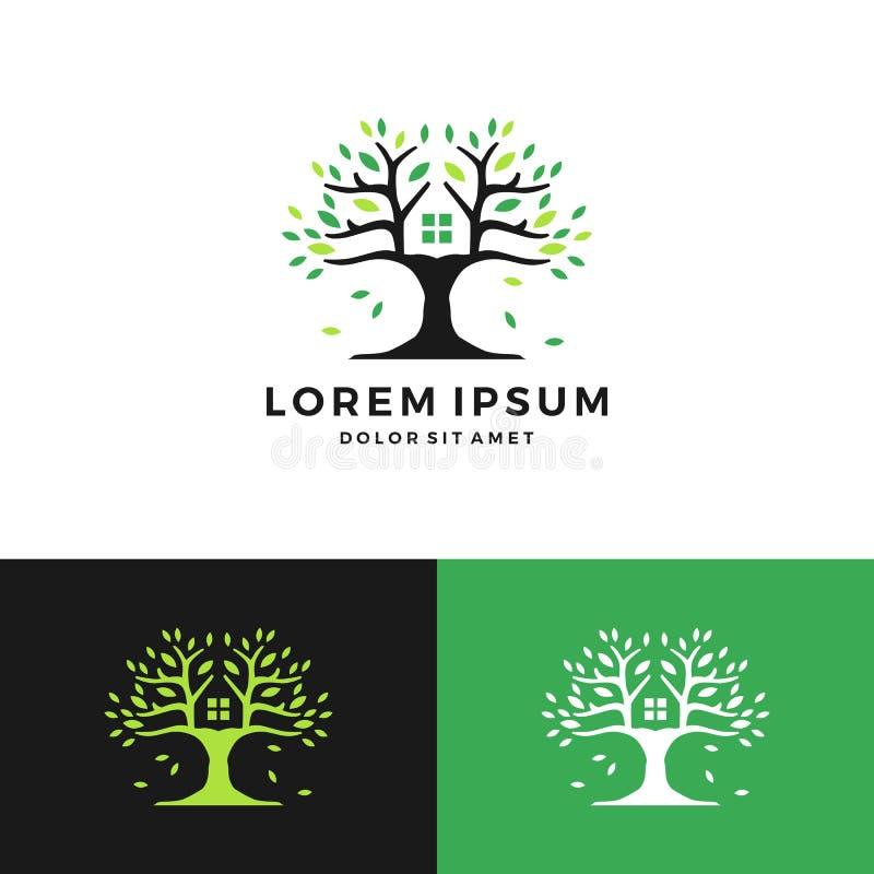 logotipo negativo do espaço do verde da casa na árvore ilustração stock