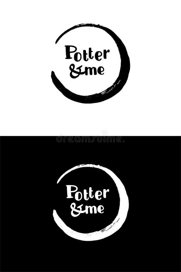 Logotipo negro de la tinta de la caligrafía del círculo El rastro de las tazas foto de archivo