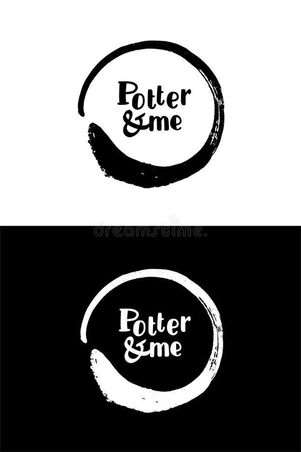 Logotipo negro de la tinta de la caligrafía del círculo El rastro de las tazas fotos de archivo libres de regalías