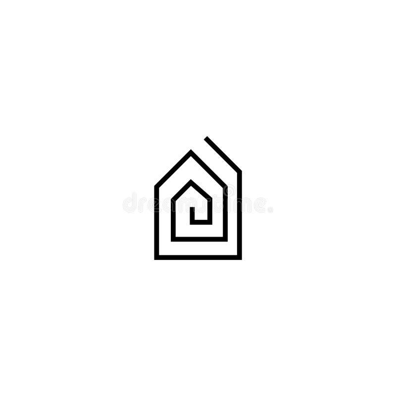 Logotipo negro de las propiedades inmobiliarias con un símbolo del laberinto de la casa libre illustration