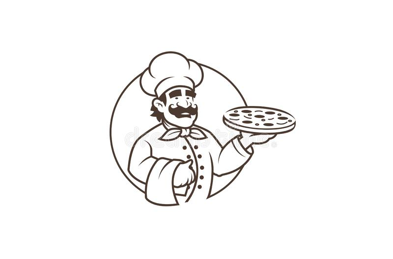 Logotipo negro de Pizza In Circle del cocinero libre illustration