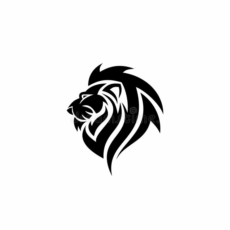 Logotipo negro del león stock de ilustración
