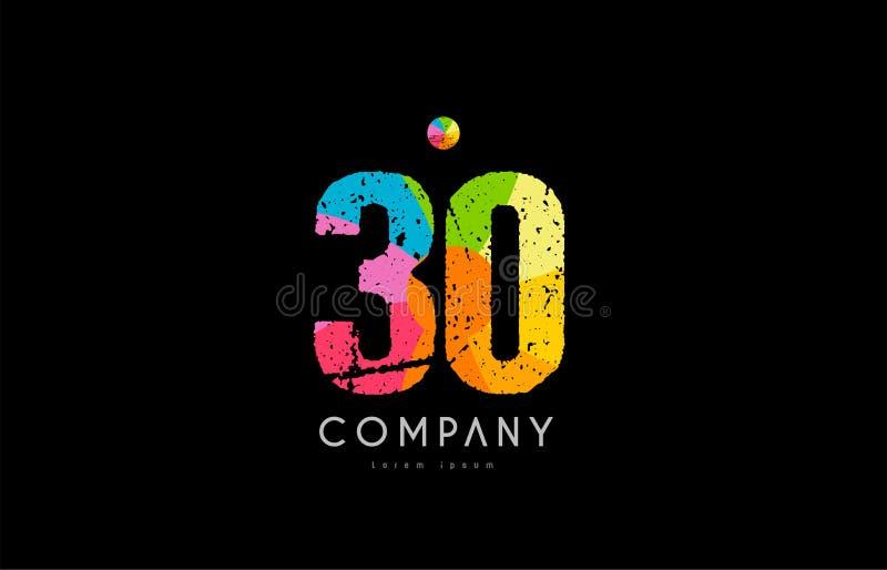 logotipo numérico del dígito del arco iris del color del grunge de 30 números stock de ilustración