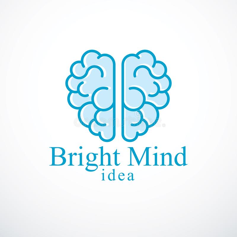Logotipo o icono brillante del vector de la mente con el cerebro anatómico humano Thi stock de ilustración