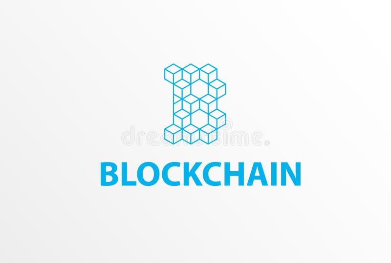 Logotipo o icono - color isométrico de Blockchain del azul de la letra B del cubo 3d stock de ilustración