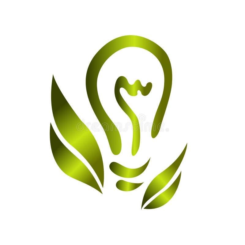 Logotipo o icono con el bulbo de la luz verde y hojas ecol?gicos en el fondo blanco stock de ilustración