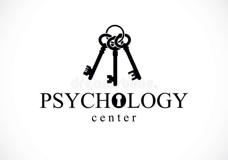 Logotipo o icono conceptual, psychoanal de la salud mental y de la psicología ilustración del vector