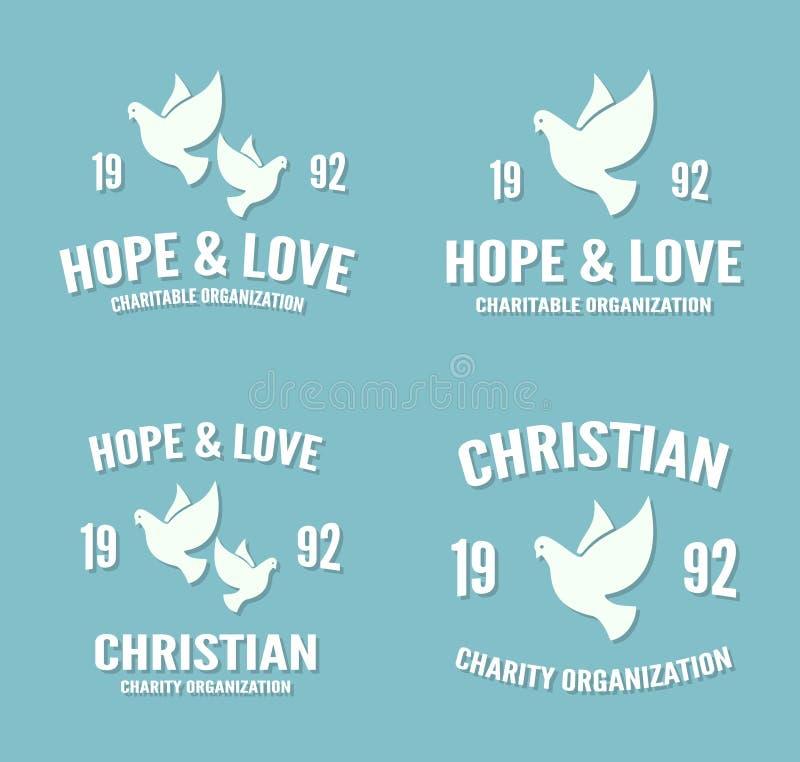 Logotipo o icono de la paloma del vector Cartel de la esperanza y del amor ilustración del vector