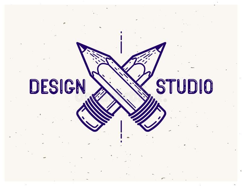 Logotipo o icono de moda simple cruzado del vector de dos lápices para el diseñador o el estudio, competencia creativa stock de ilustración