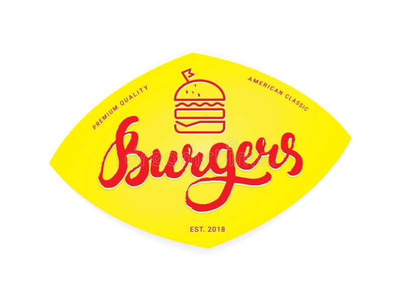 Logotipo o icono, emblema de la hamburguesa ilustración del vector