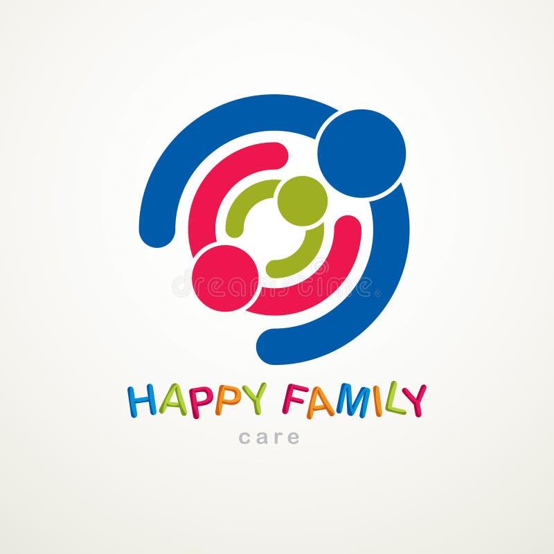 Logotipo o icono feliz del vector de la familia creado con s geométrico simple libre illustration