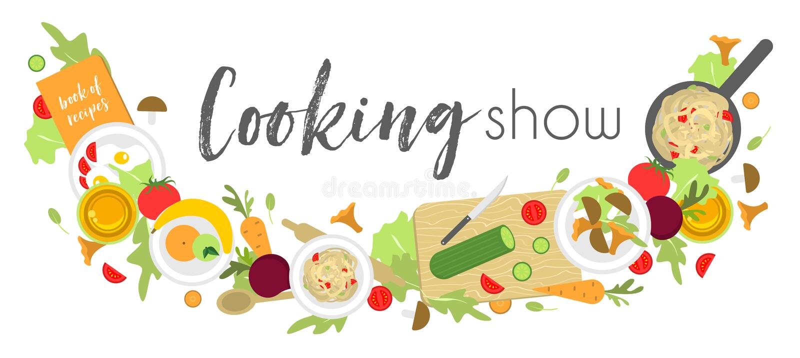 Logotipo o letrero para cocinar la demostración con los productos y dispositivos para cocinar libre illustration