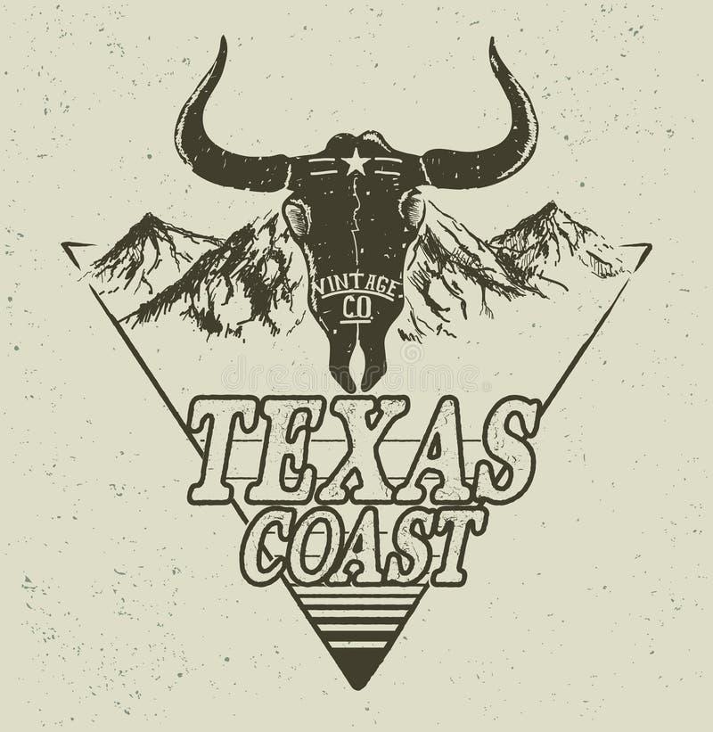 Logotipo ocidental com cabeça do touro ilustração royalty free