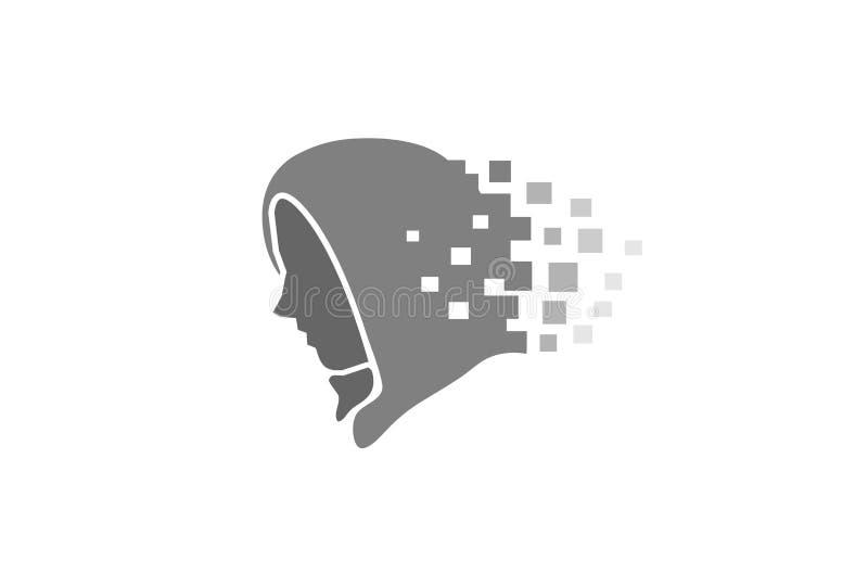 Logotipo ocultado pirata informático del pixel de la cara stock de ilustración