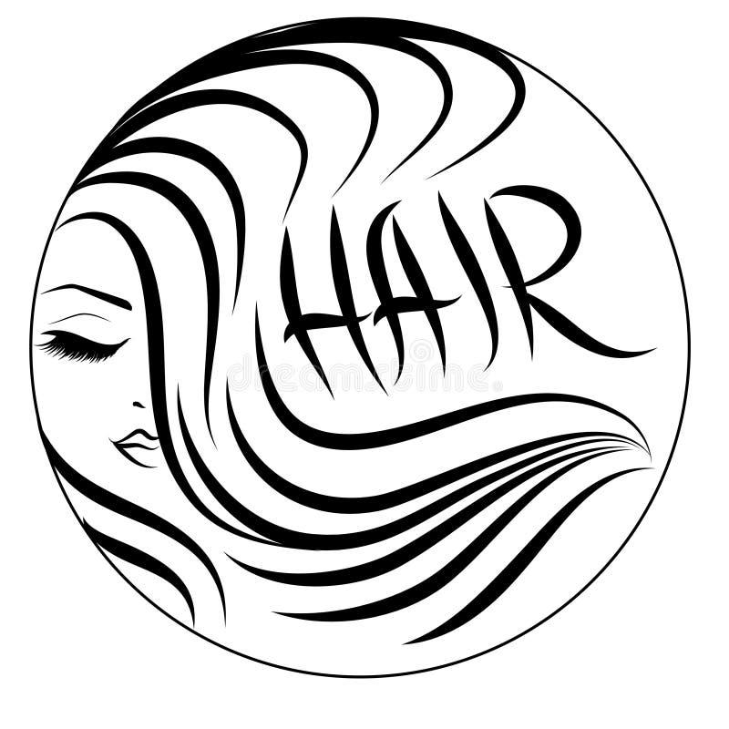 Logotipo ondulado do cabelo ilustração royalty free