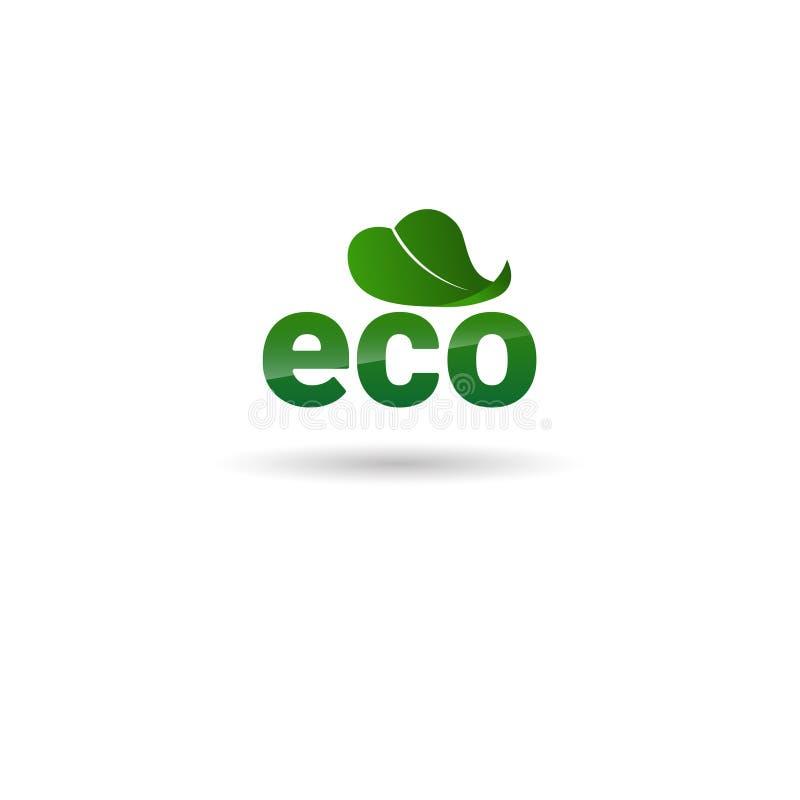 Logotipo orgánico amistoso del verde del icono del web del producto natural de Eco stock de ilustración