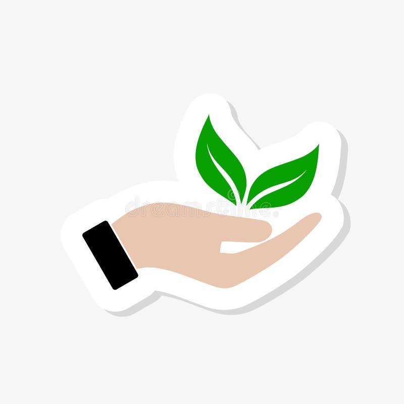 Logotipo orgânico da etiqueta Sinal das folhas à disposição Logotipo dos produtos naturais ilustração do vetor