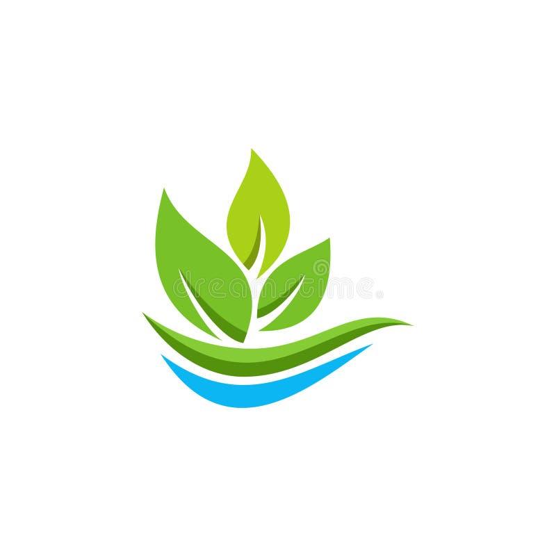 Logotipo orgânico da folha de Eco ilustração stock