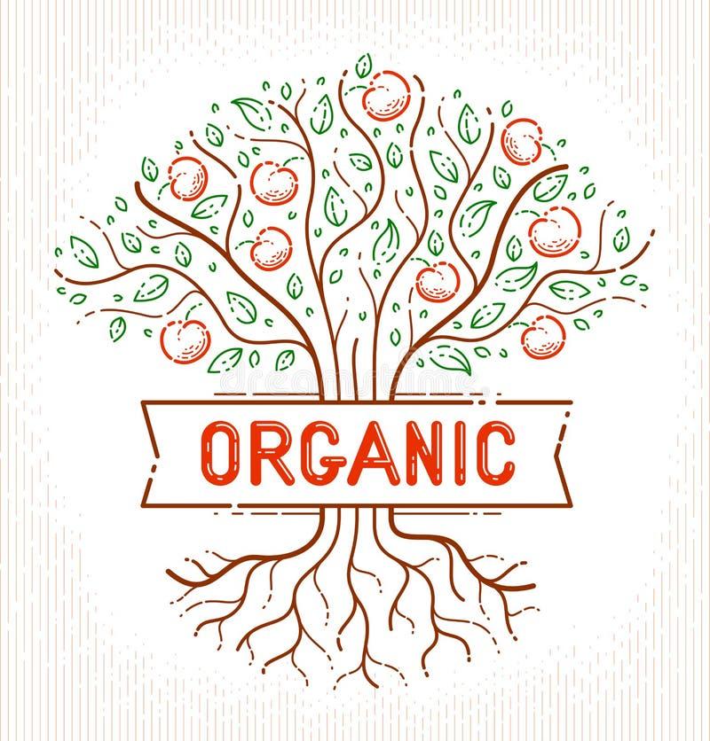 Logotipo orgânico natural bonito ou emblema do vetor do alimento da exploração agrícola da árvore de fruto da maçã ilustração do vetor