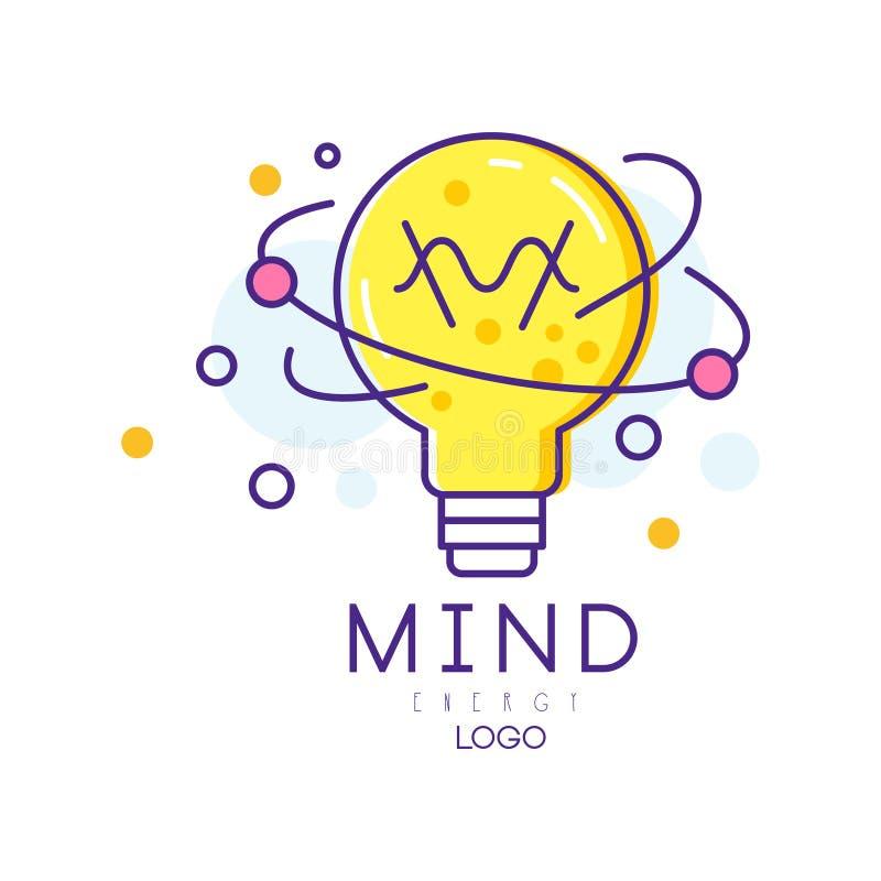 Logotipo original com a ampola no estilo linear Energia da mente Conceito do processo criativo, geração da ideia colorido ilustração stock