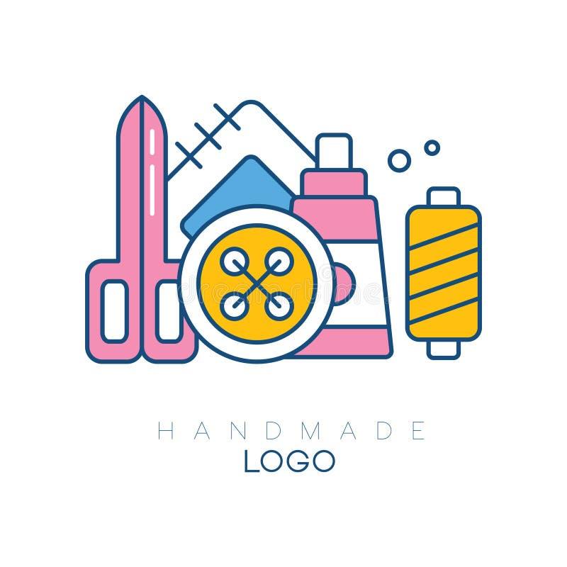 Logotipo original com os acessórios para costurar Carretel grande, bobina com linhas, remendo, tesouras e botão vetor para ilustração stock