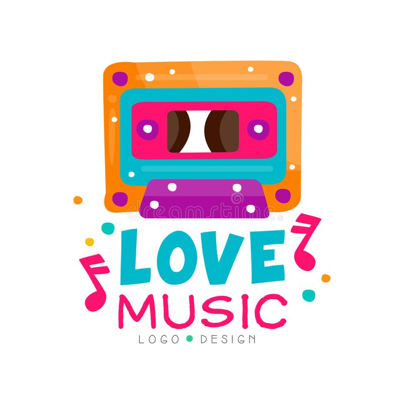 Logotipo original con el casete y las notas brillante-coloreados Diseño del vector para el emblema de la tienda de la música, car stock de ilustración