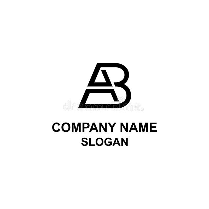 Logotipo original da inicial da letra do AB ilustração stock