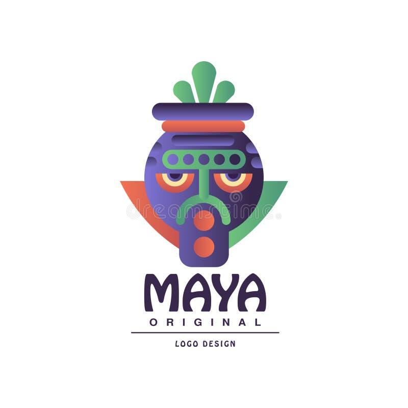 Logotipo original do projeto do Maya, sinal com ilustração tribal do vetor da máscara em um fundo branco ilustração royalty free