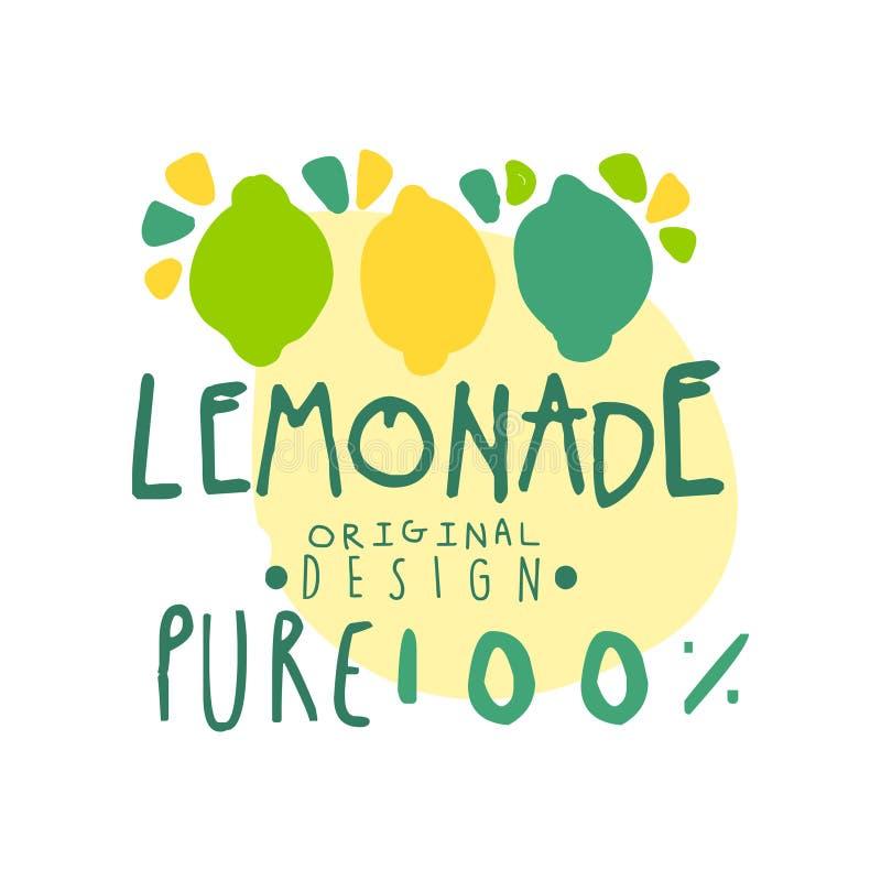 Logotipo original puro del diseño del 100 por ciento del limón, ejemplo dibujado mano colorida sana natural del vector de la insi libre illustration