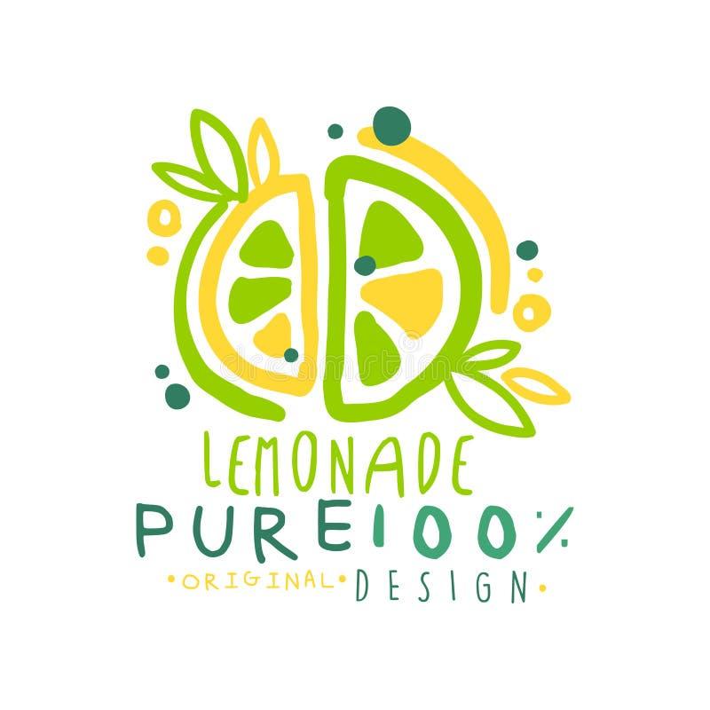 Logotipo original puro del diseño del 100 por ciento del limón, insignia sana natural del producto, mano colorida de la bebida fr libre illustration