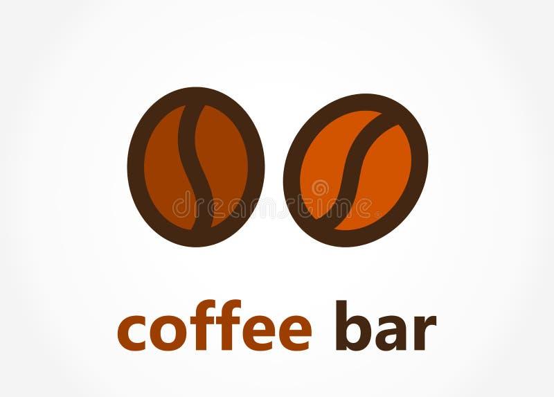 Logotipo ou ícone da barra dos feijões de café ilustração royalty free