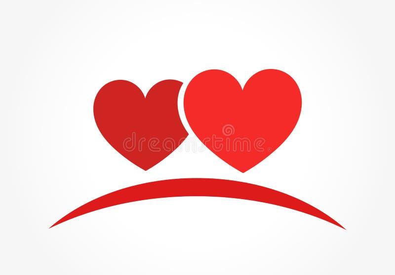 Logotipo ou ícone de dois corações ilustração do vetor
