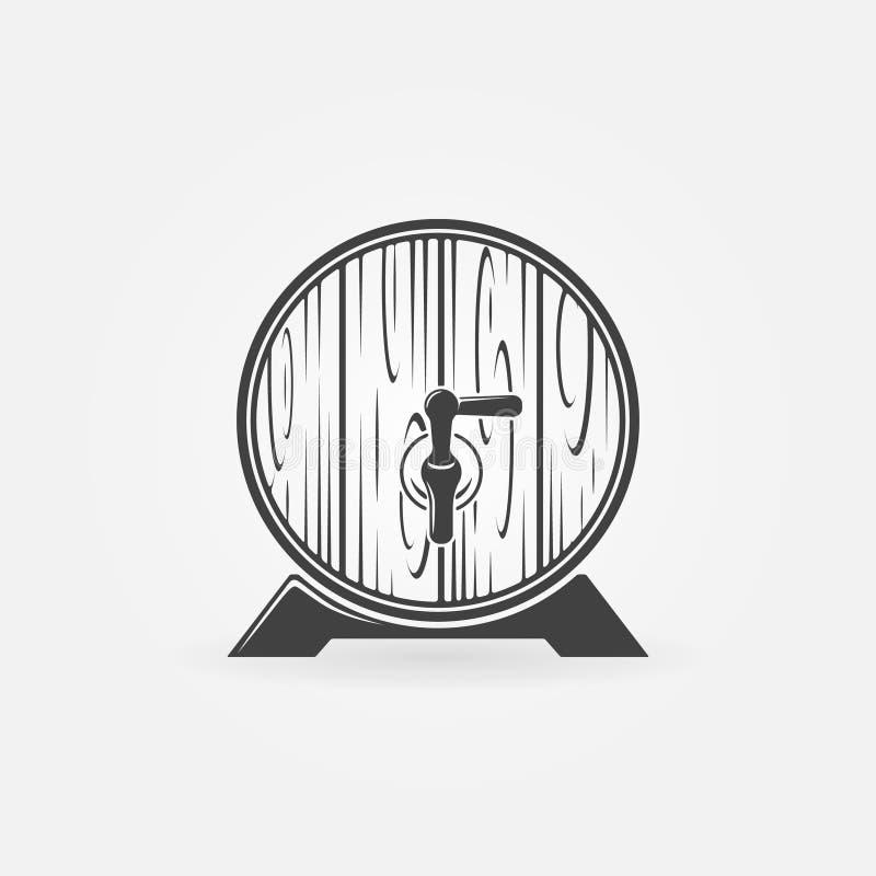 Logotipo ou ícone de madeira do tambor da cerveja ilustração royalty free