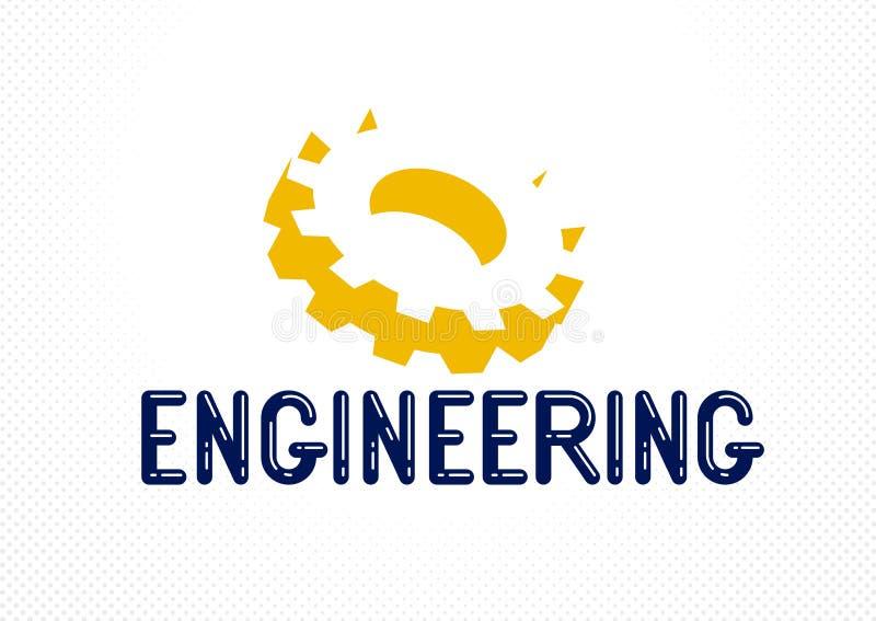 Logotipo ou ícone do coordenador com engrenagens e rodas da roda denteada, industrial à moda ilustração stock