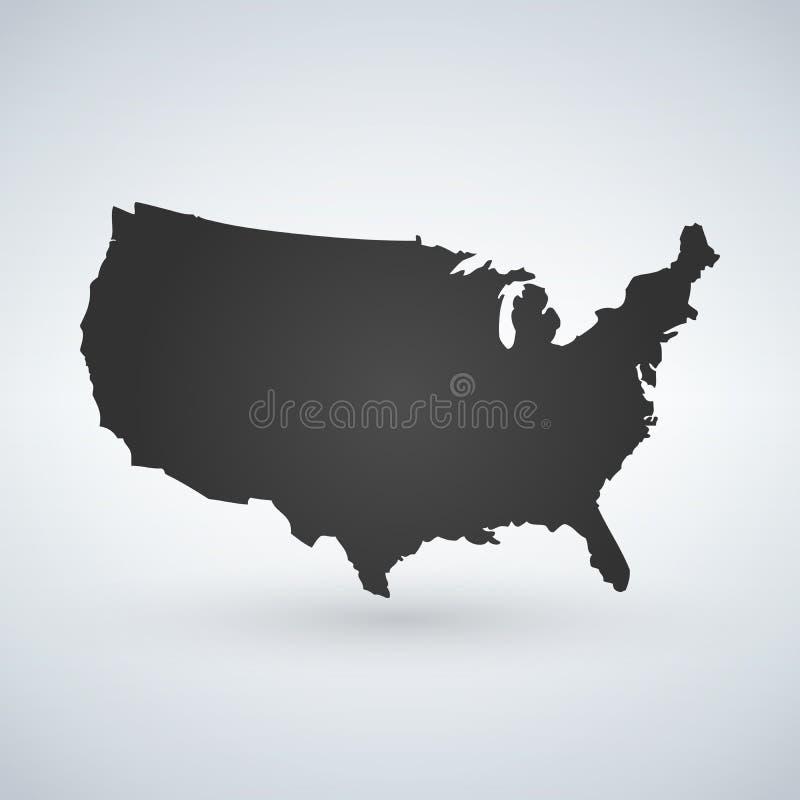 Logotipo ou ícone dos E.U. com letras através do mapa, Estados Unidos da América dos EUA Ilustração do vetor isolada no fundo mod ilustração royalty free