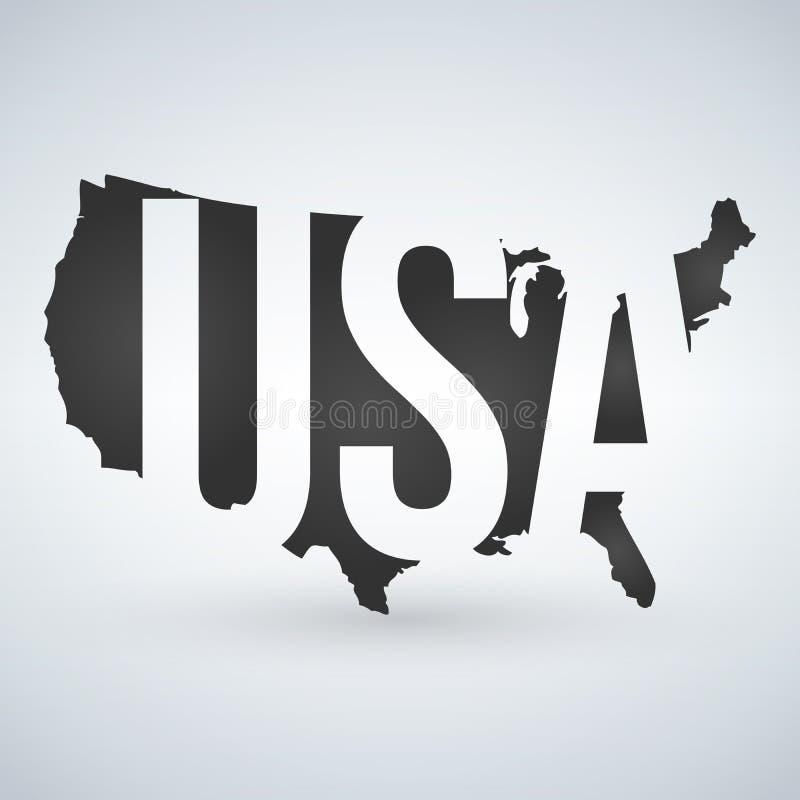 Logotipo ou ícone dos E.U. com letras através do mapa, Estados Unidos da América dos EUA Ilustração do vetor isolada no fundo mod ilustração stock