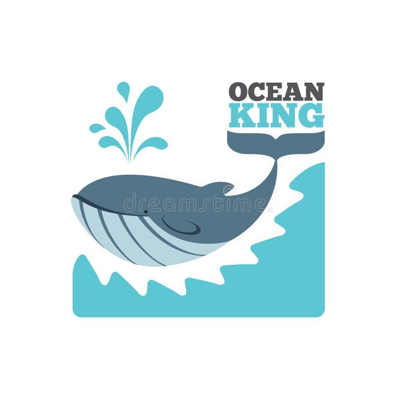 Logotipo ou cartaz da baleia do vetor ilustração royalty free