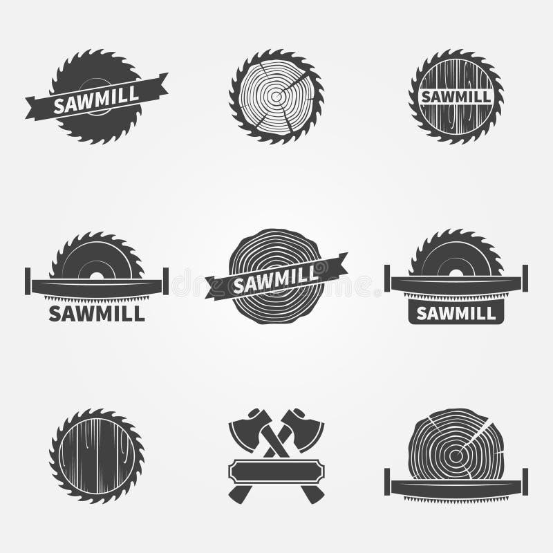 Logotipo ou etiqueta da serração ilustração royalty free