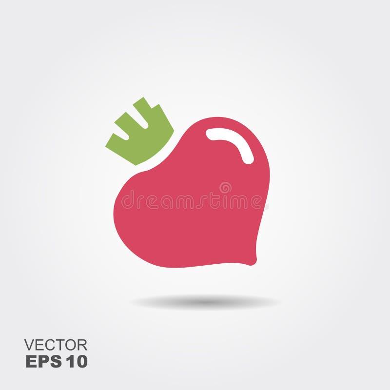 Logotipo púrpura del icono de la remolacha Concepto vegetariano fresco Símbolo plano simple fresco de las remolachas del diseño stock de ilustración